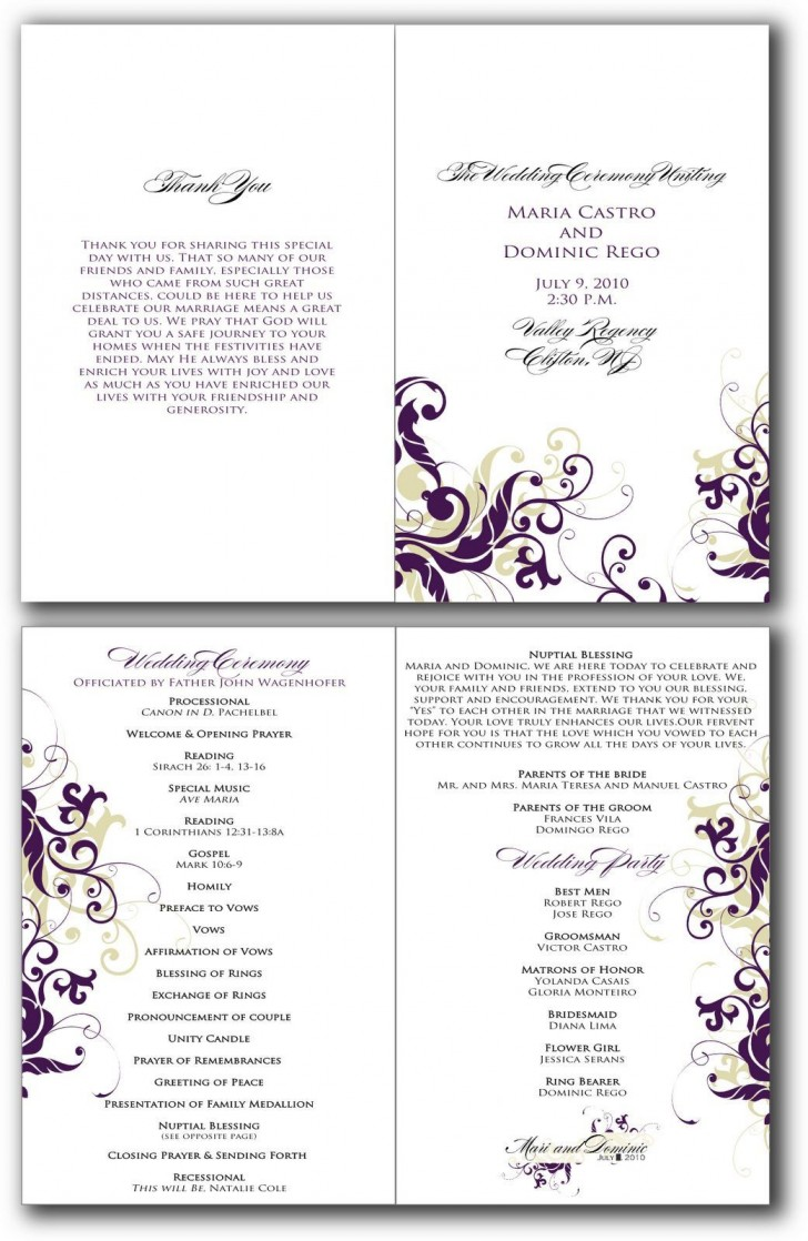 002 Beautiful Free Editable Church Program Template Design 728