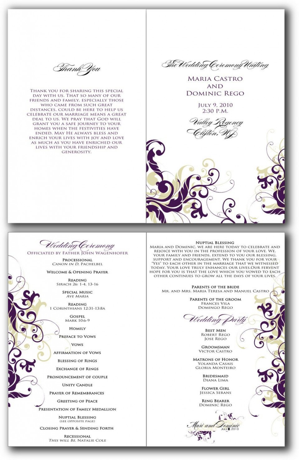 002 Beautiful Free Editable Church Program Template Design 960