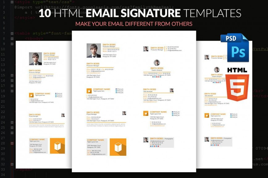 002 Beautiful Html Email Signature Template Image  Generator Github Responsive Free
