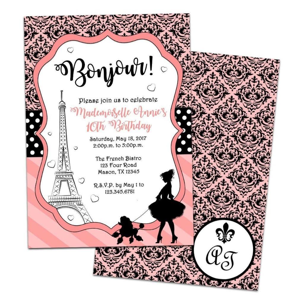 002 Beautiful Pari Birthday Invitation Template Free Concept Large