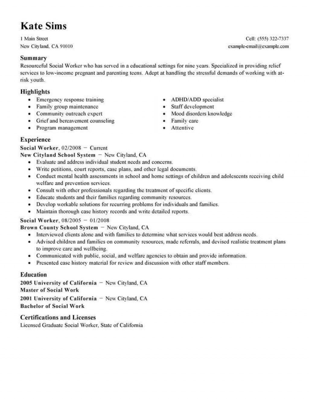 Social Worker Resume Template from www.addictionary.org