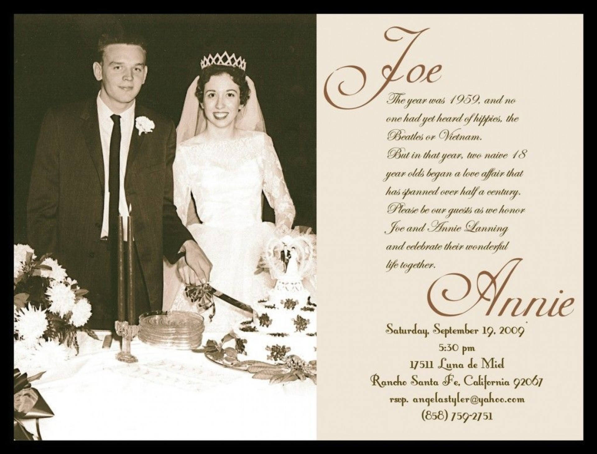 002 Best 50th Wedding Anniversary Invitation Sample  Samples Free Party Template Card Idea1920