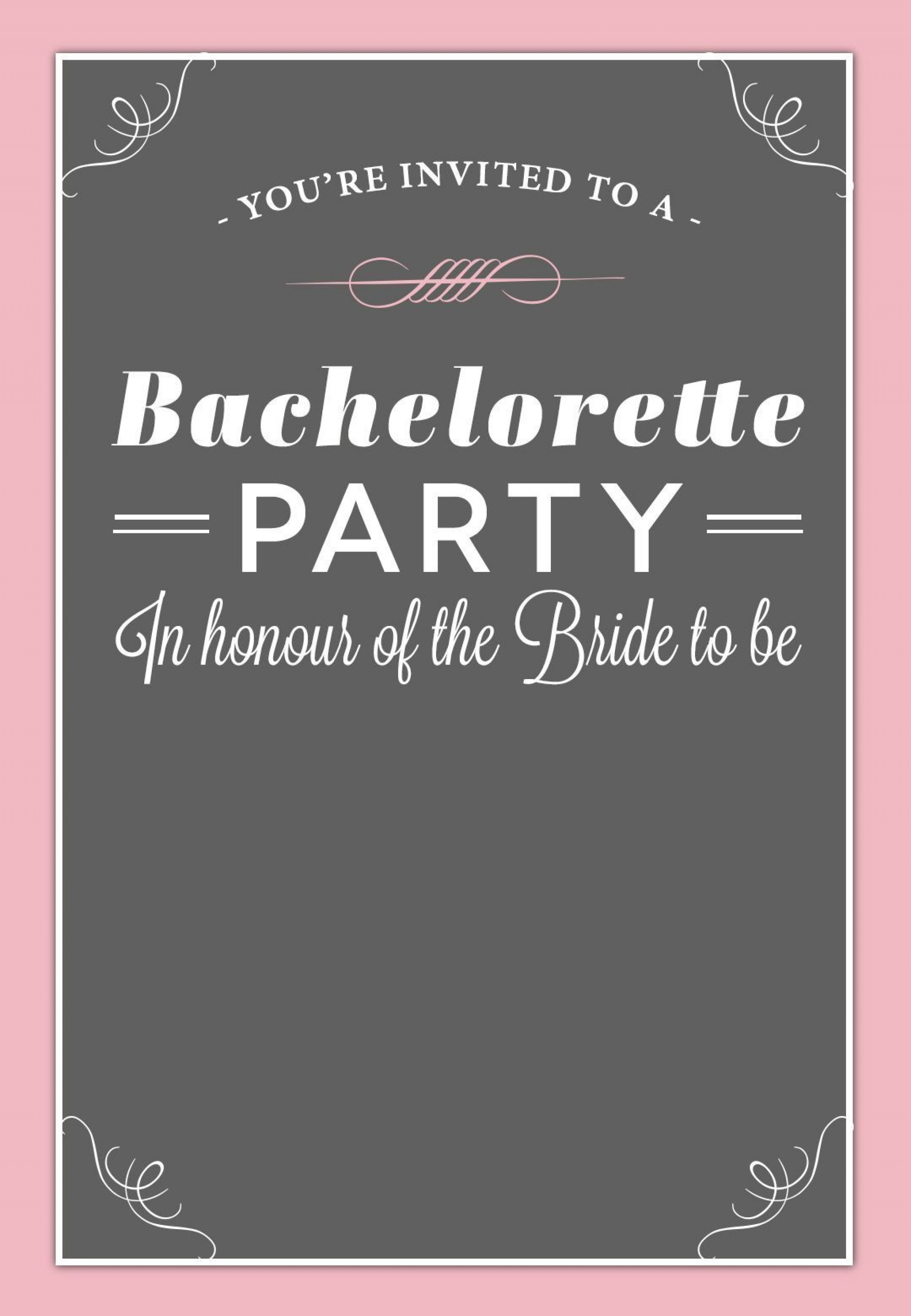 002 Best Bachelorette Party Invitation Template Word Free Design 1920
