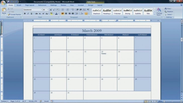 002 Best Calendar Template For Word 2007 Example 728