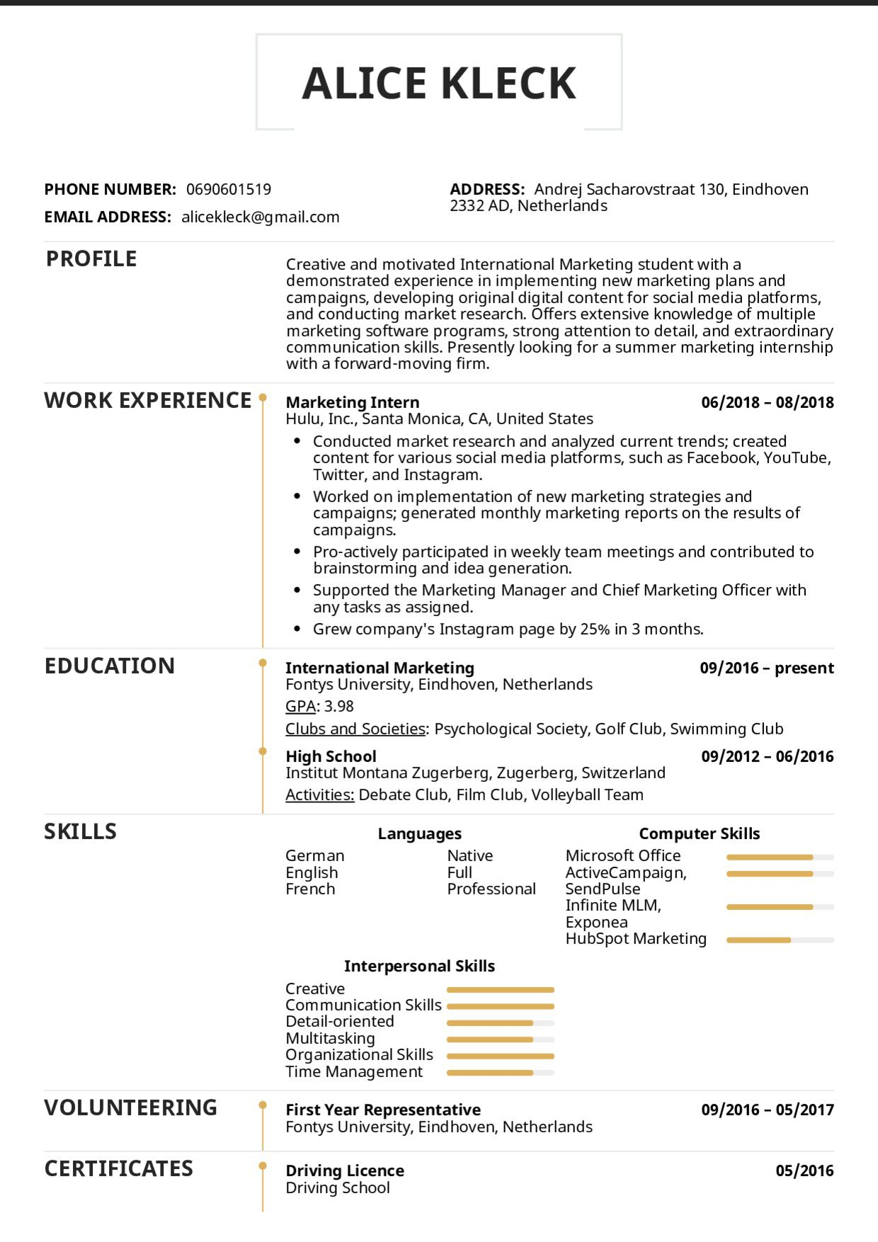 002 Best College Internship Resume Template Photo  Student Job For DownloadFull