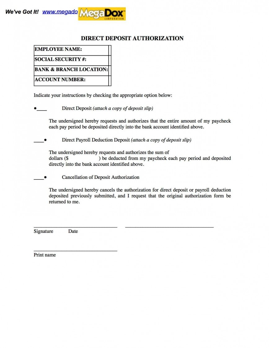002 Best Direct Deposit Cancellation Form Template Sample  Multiple Account Authorization Canada Word