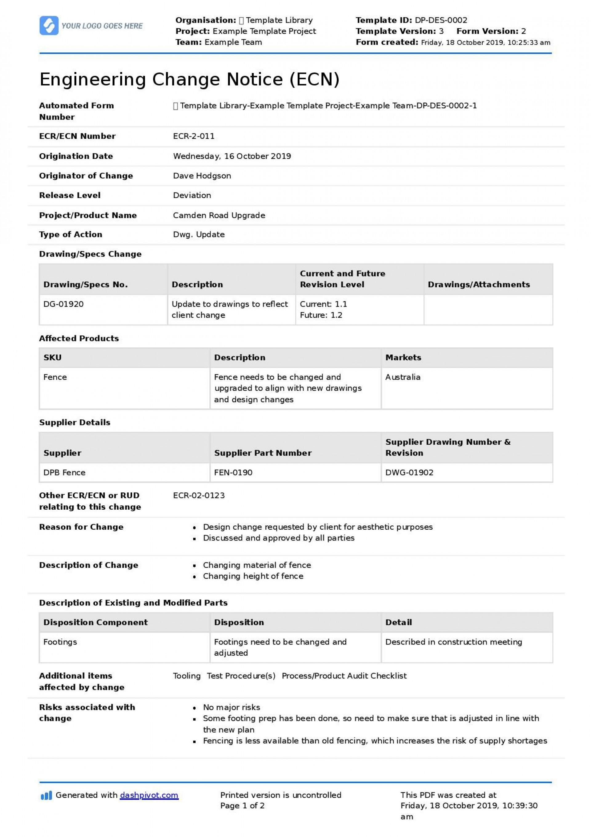 002 Best Engineering Change Order Template High Resolution 1920