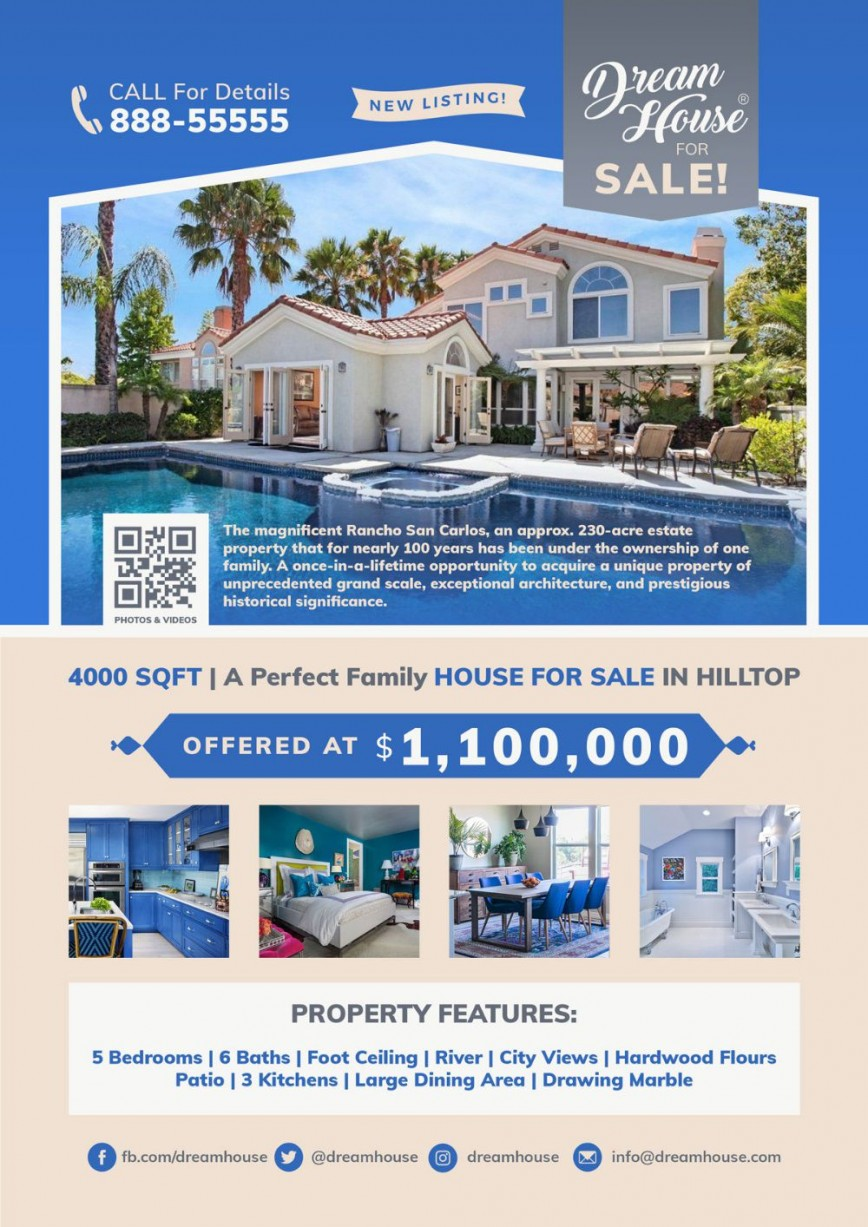 002 Best For Sale Flyer Template Example  Home Free With Tab Busines Ad