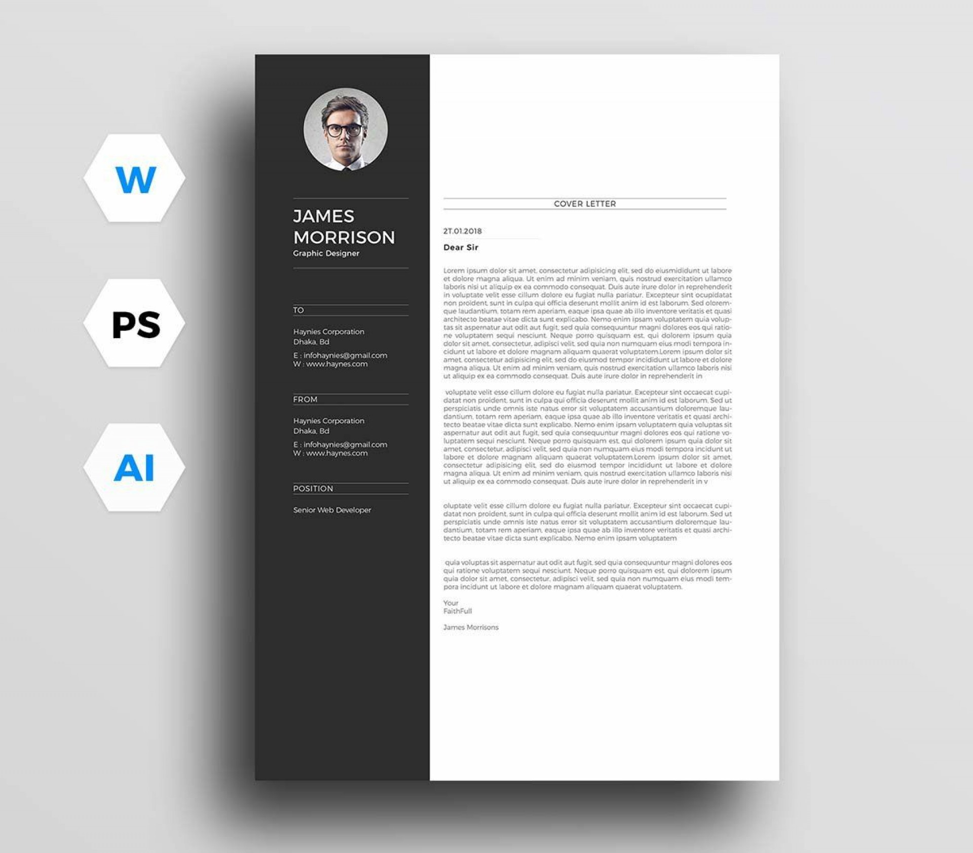 002 Best Free Download Cv Cover Letter Template Image  Templates1920