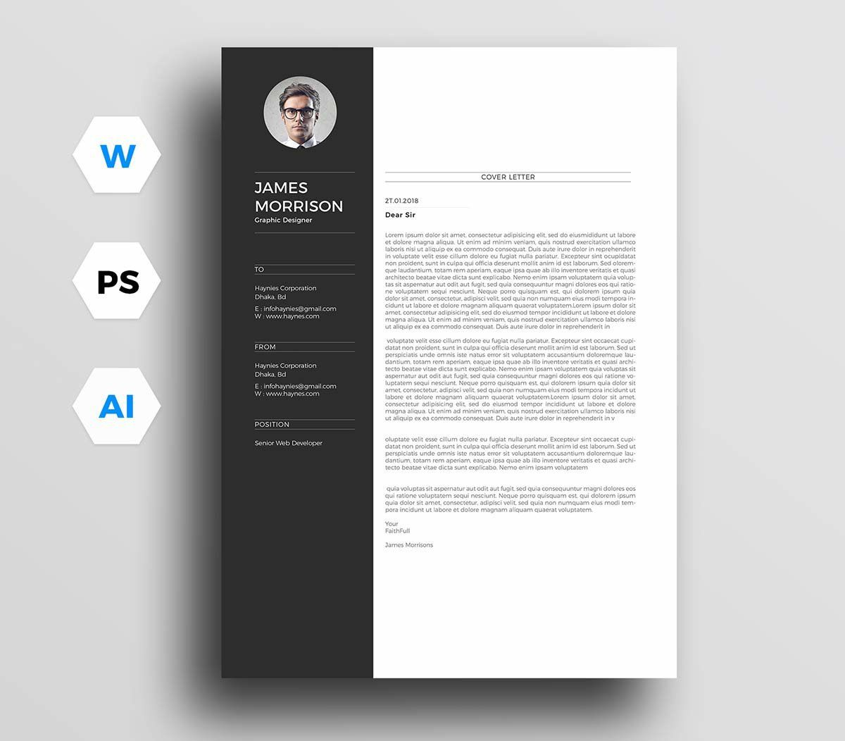 002 Best Free Download Cv Cover Letter Template Image  TemplatesFull