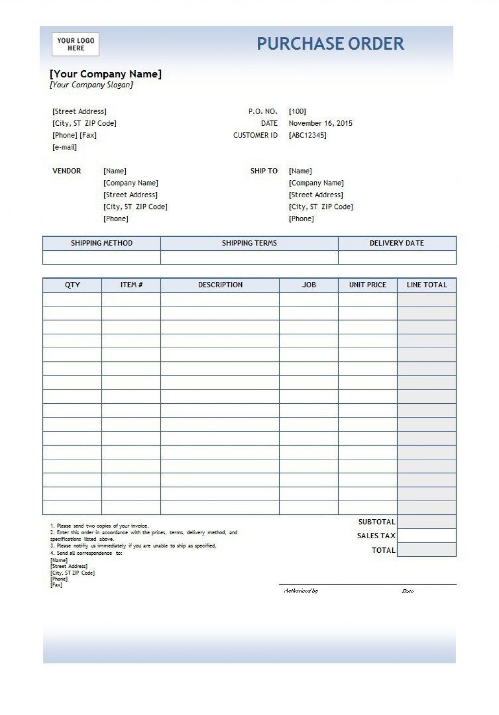 002 Best Free Purchase Order Template Word Image  Microsoft DownloadLarge