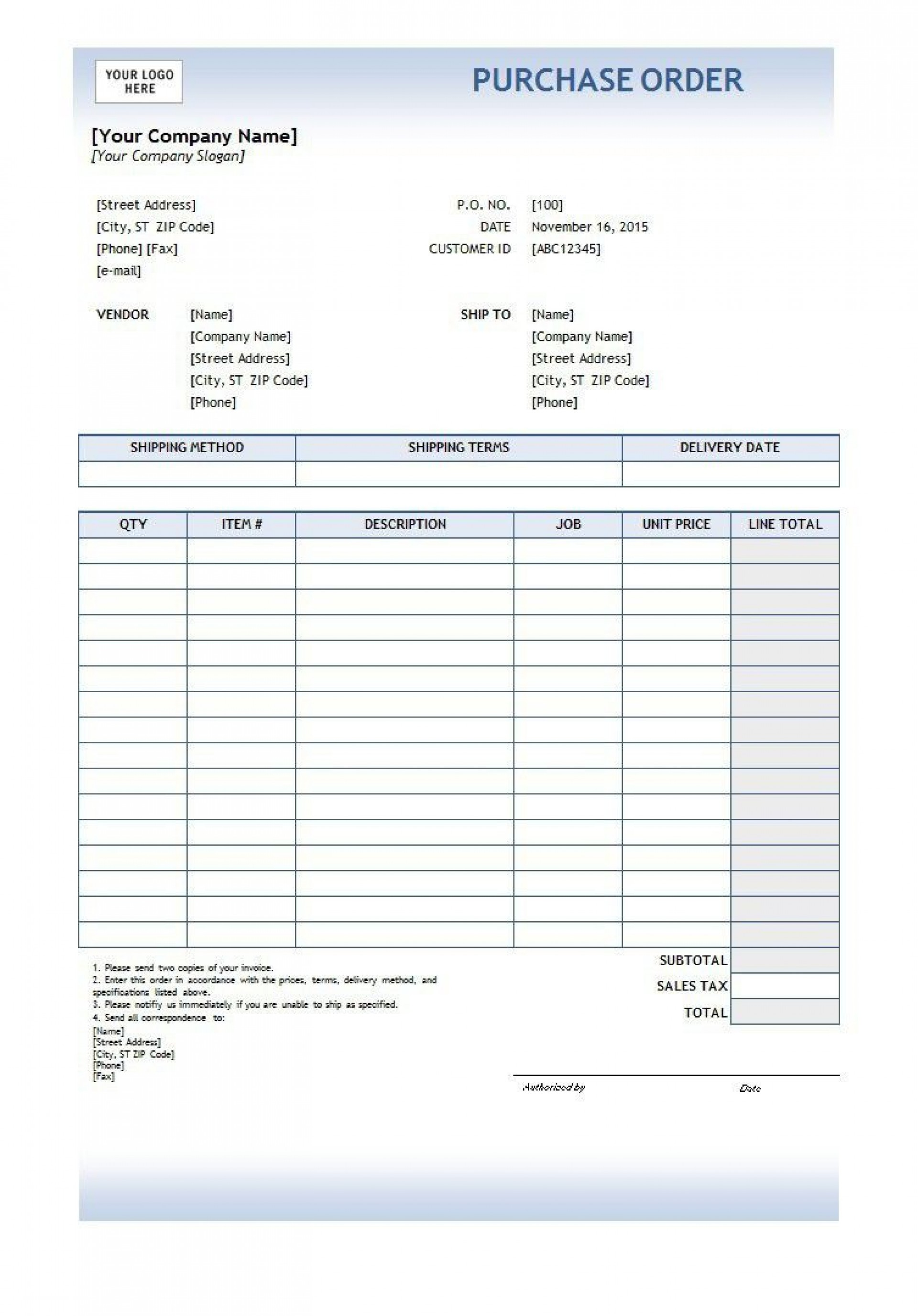 002 Best Free Purchase Order Template Word Image  Microsoft Download1920