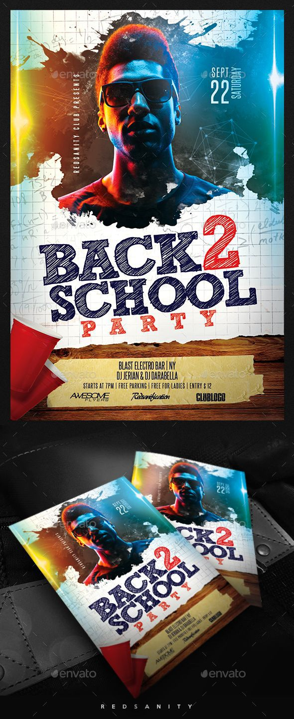 002 Best Free School Disco Flyer Template Sample  Templates PosterFull