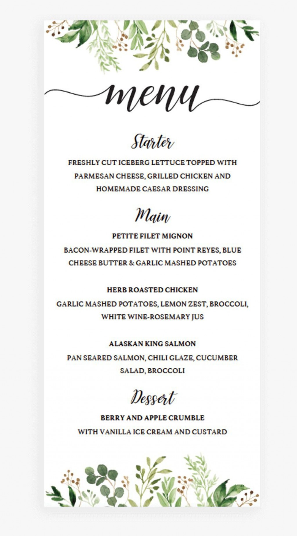 002 Best Free Wedding Menu Template High Def  Templates Printable For MacLarge