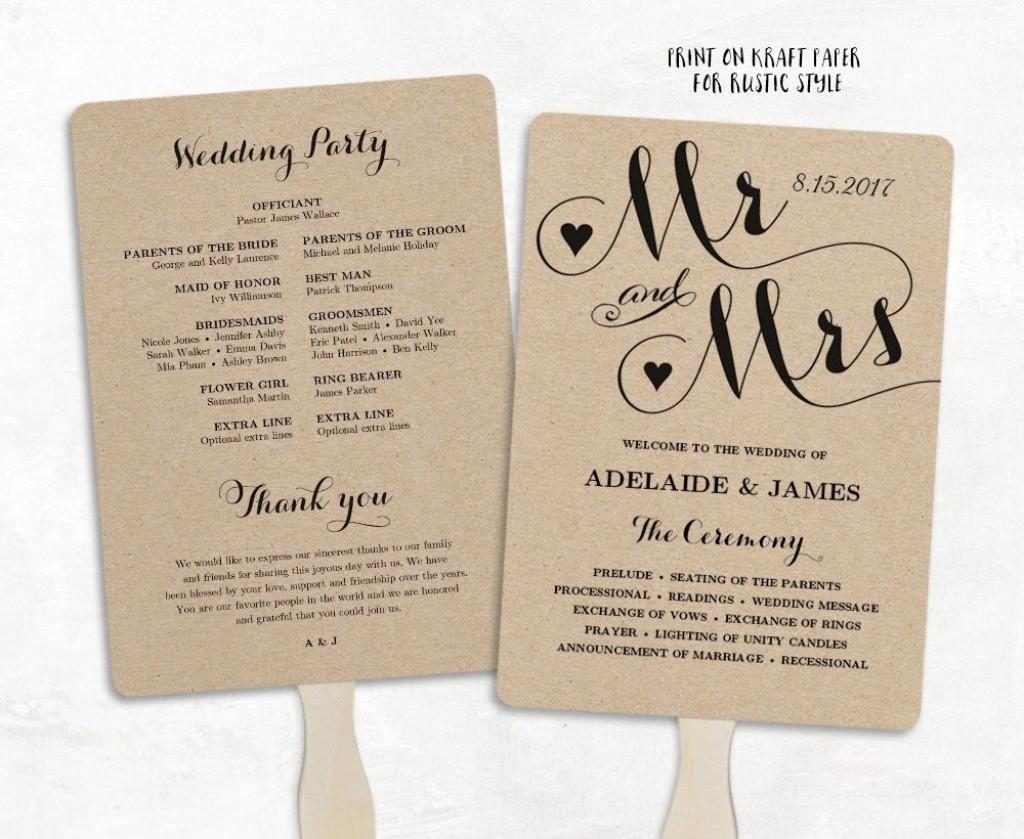 002 Best Free Wedding Program Fan Template Idea  Templates Printable Paddle WordLarge
