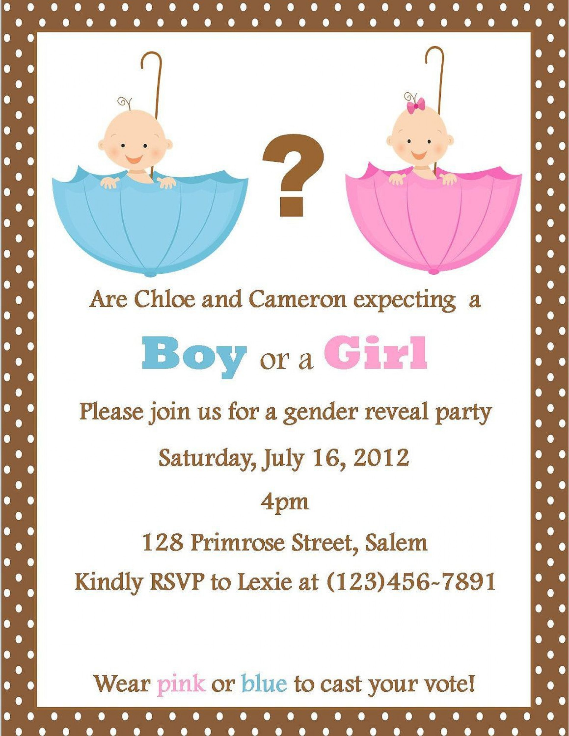 002 Best Gender Reveal Invitation Template High Resolution  Templates Party Free Printable Maker1920
