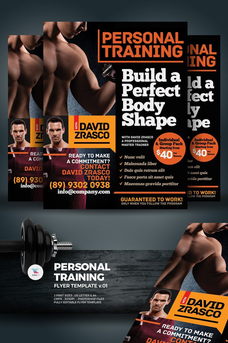 002 Best Personal Trainer Flyer Template Sample  Word PsdFull