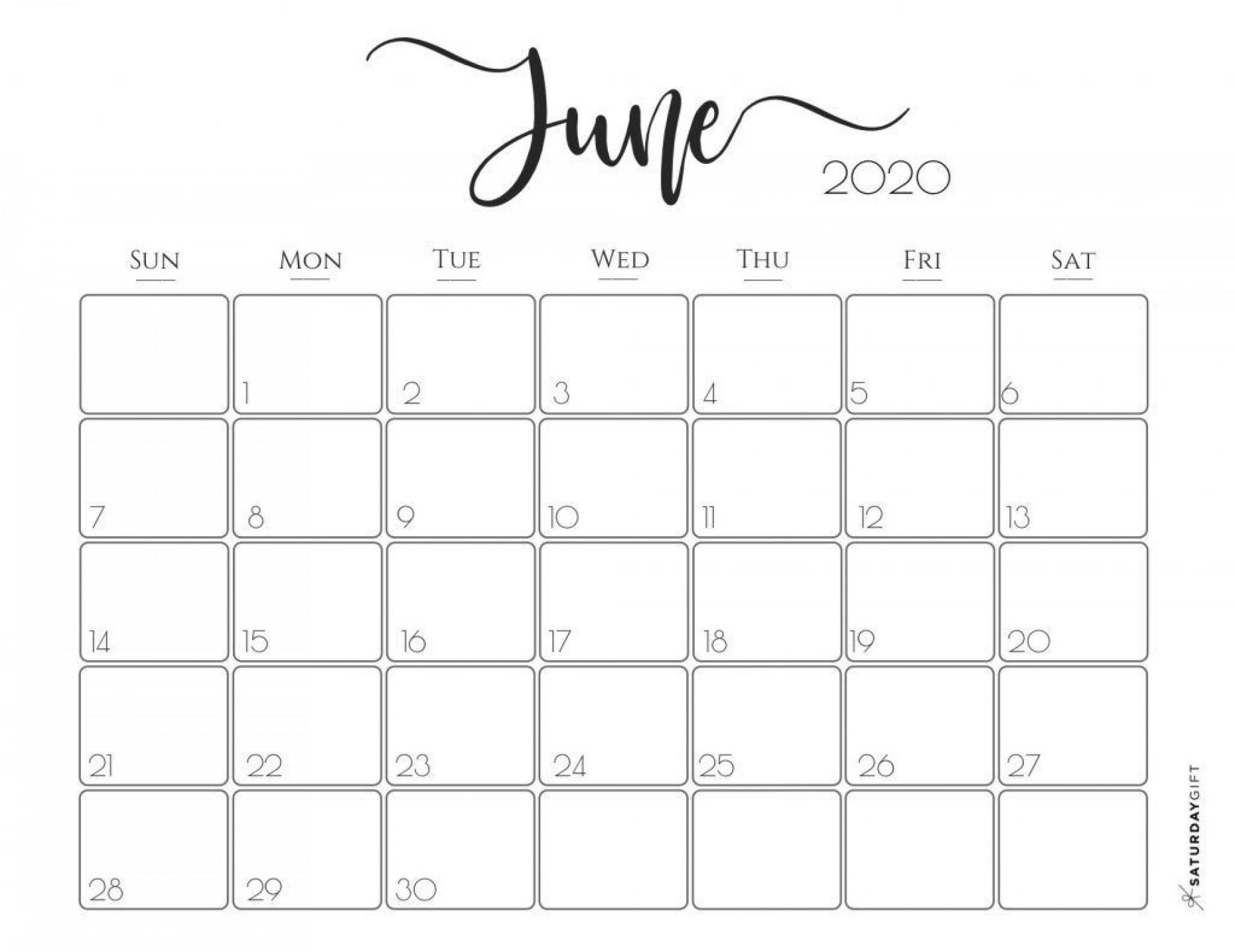 002 Best Printable Calendar Template June 2020 Inspiration  Free1920