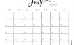 002 Best Printable Calendar Template June 2020 Inspiration  Free