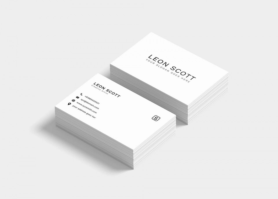 002 Best Simple Busines Card Template Psd Highest Quality  Design In Photoshop Minimalist Free960