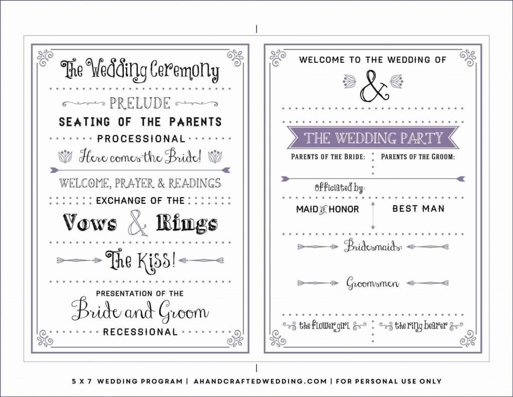 002 Best Wedding Program Template Free Idea  Fan Download ElegantLarge