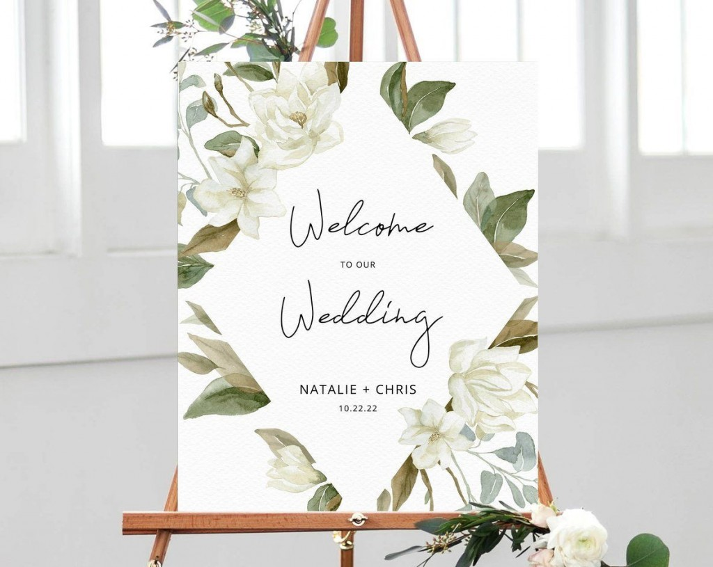 002 Best Wedding Welcome Sign Template Free Inspiration Large