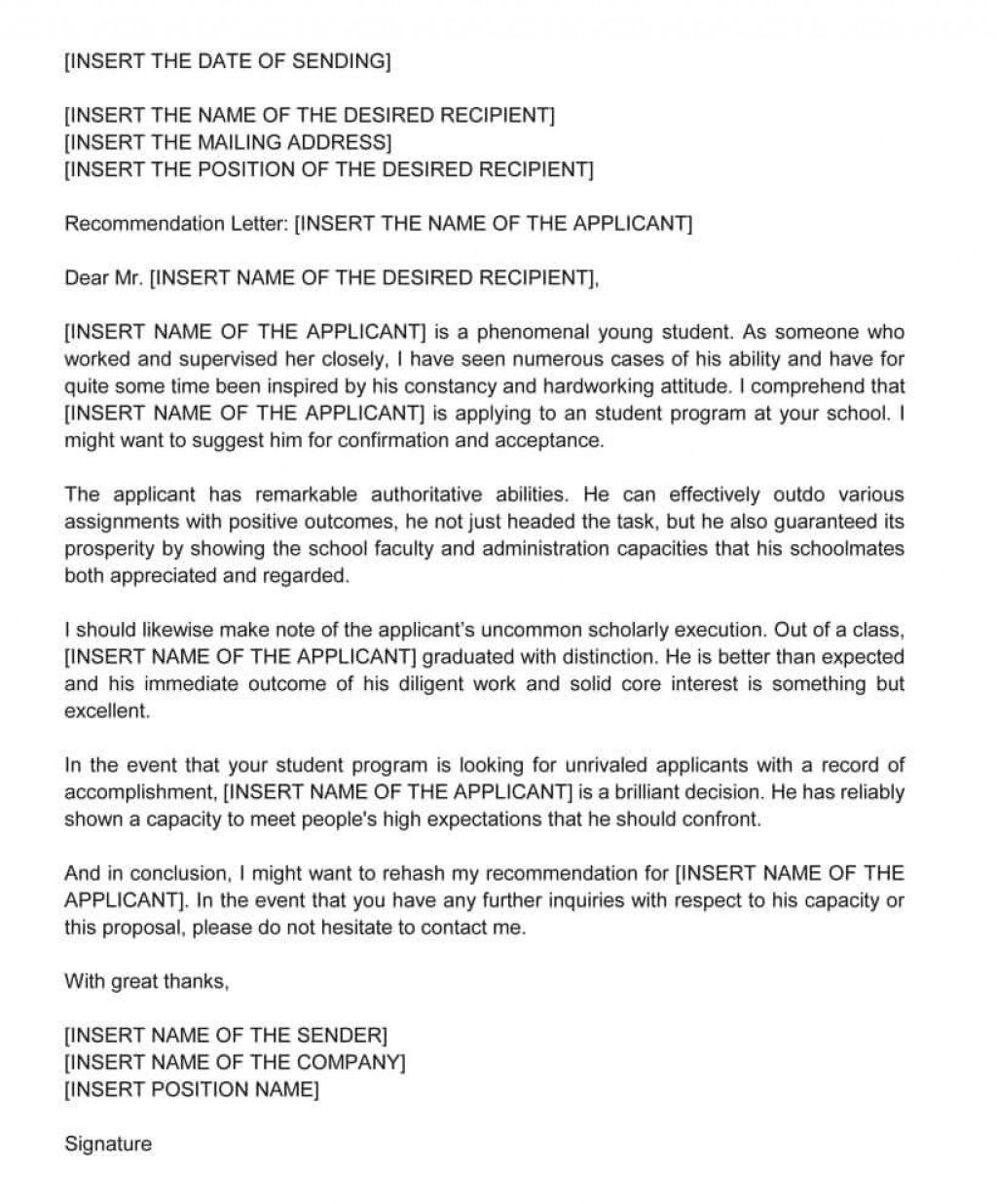 002 Breathtaking Example Of Letter Recommendation For Graduate School From Employer Picture  Sample Pdf GradLarge