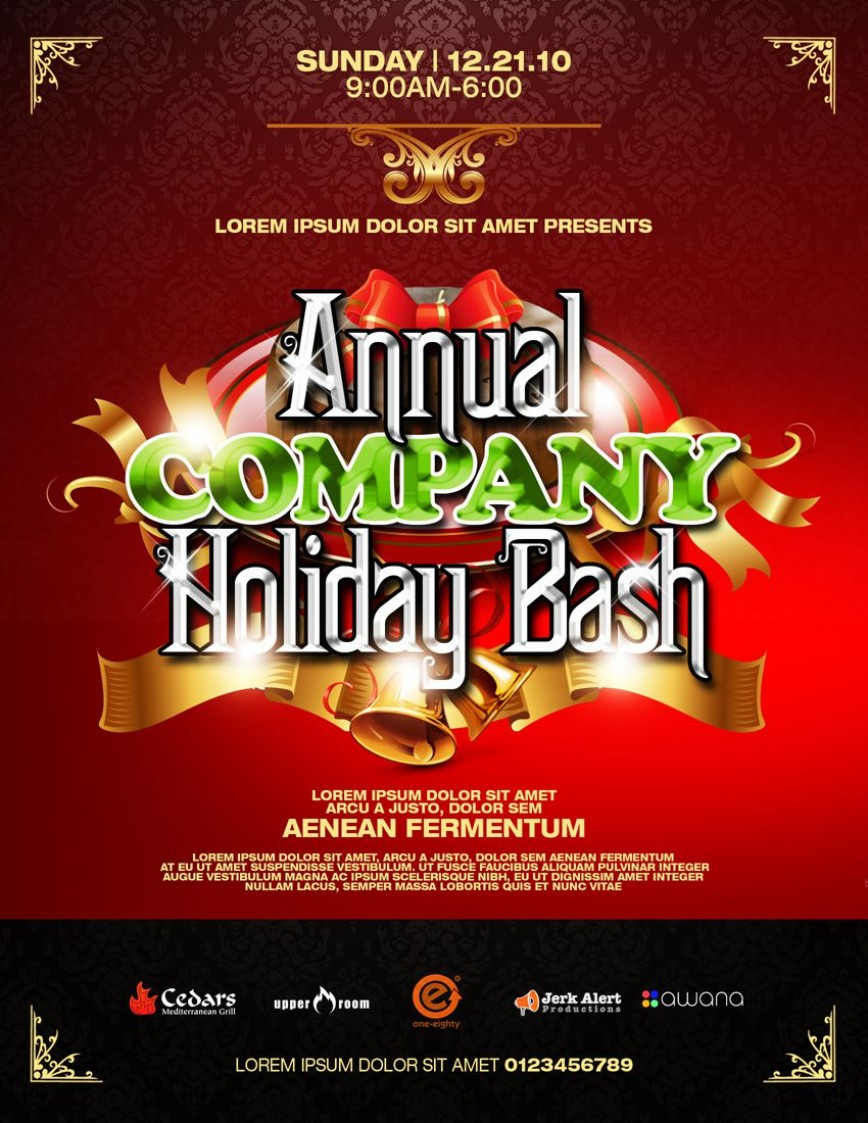 002 Breathtaking Free Holiday Party Flyer Template Word Image
