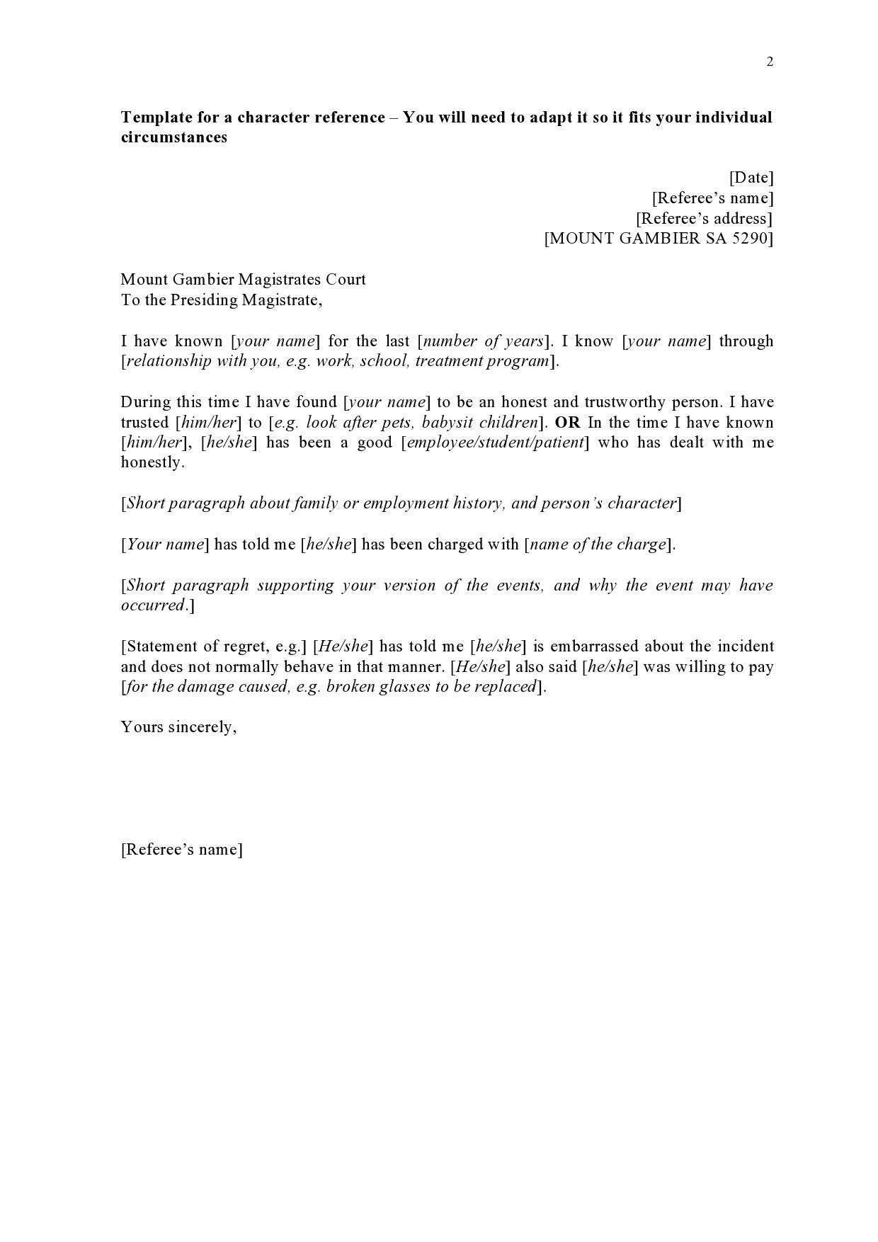 002 Breathtaking Free Reference Letter Template Word Inspiration  Personal For EmploymentFull
