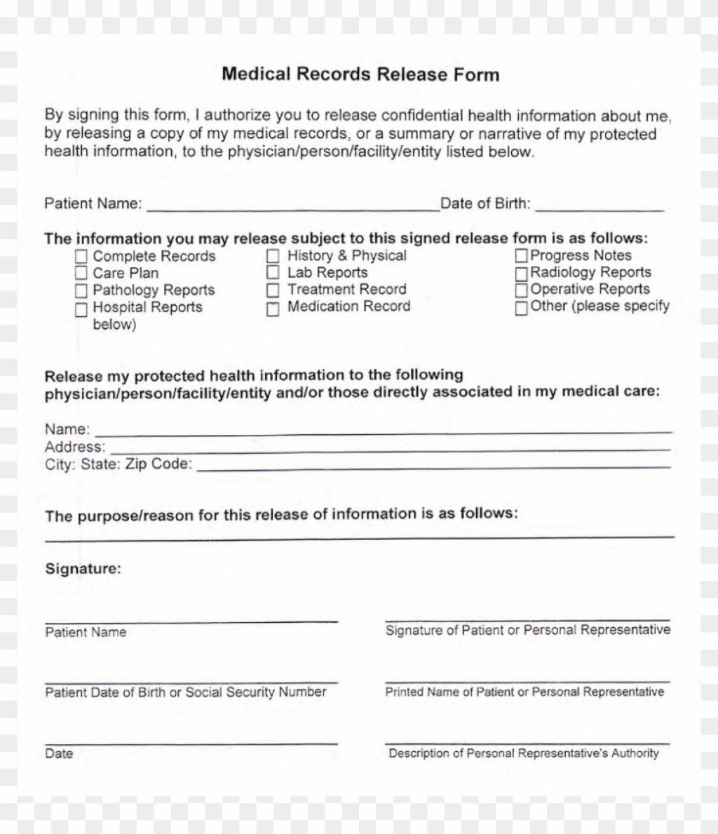 002 Breathtaking Medical Record Release Form Template Concept  Request Free PersonalLarge