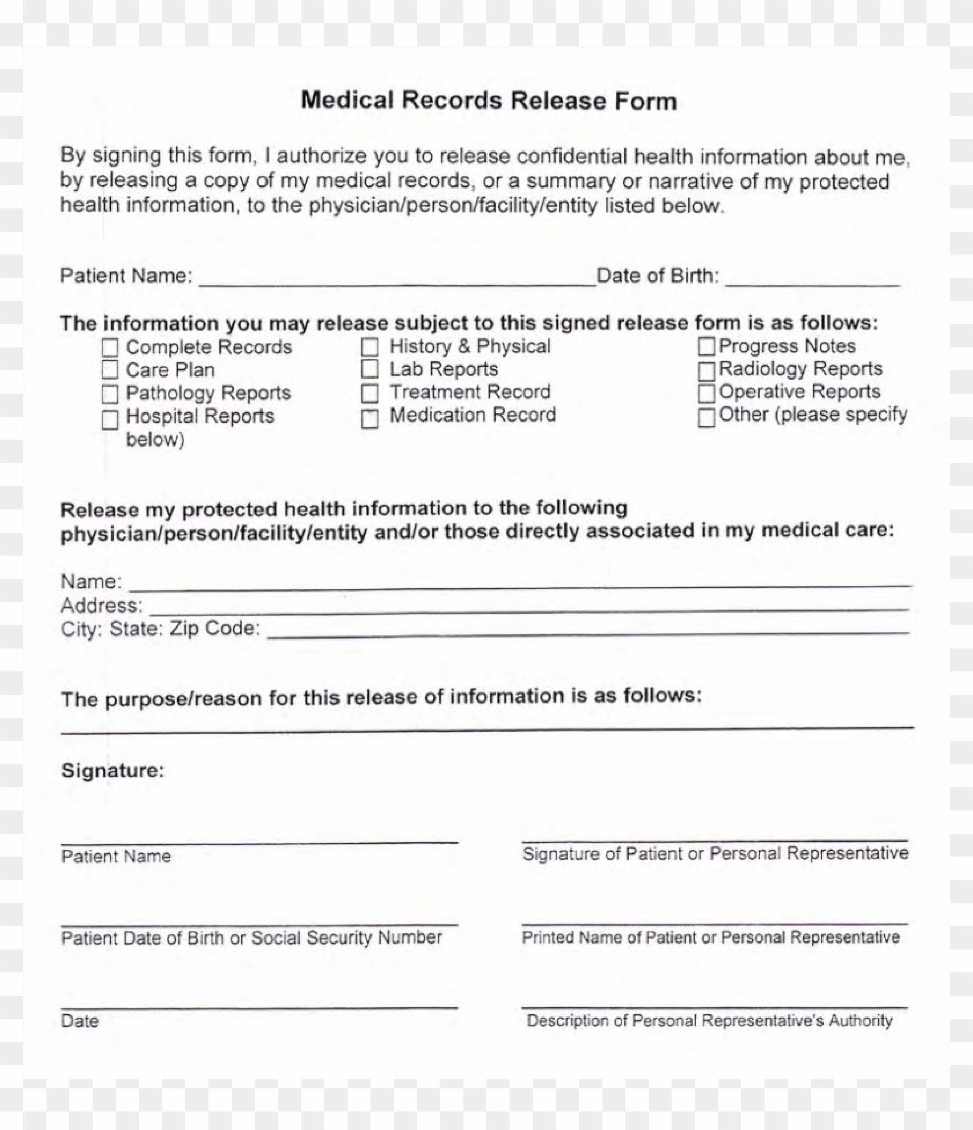 002 Breathtaking Medical Record Release Form Template Concept  Request Free Personal1920