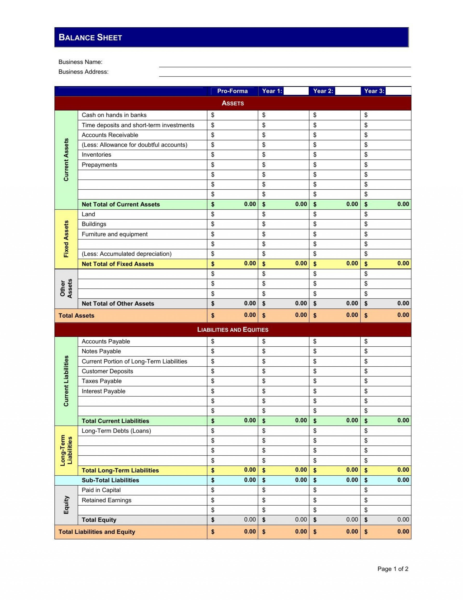 002 Breathtaking Pro Forma Balance Sheet Template Highest Clarity  Sample Free Example Excel1920