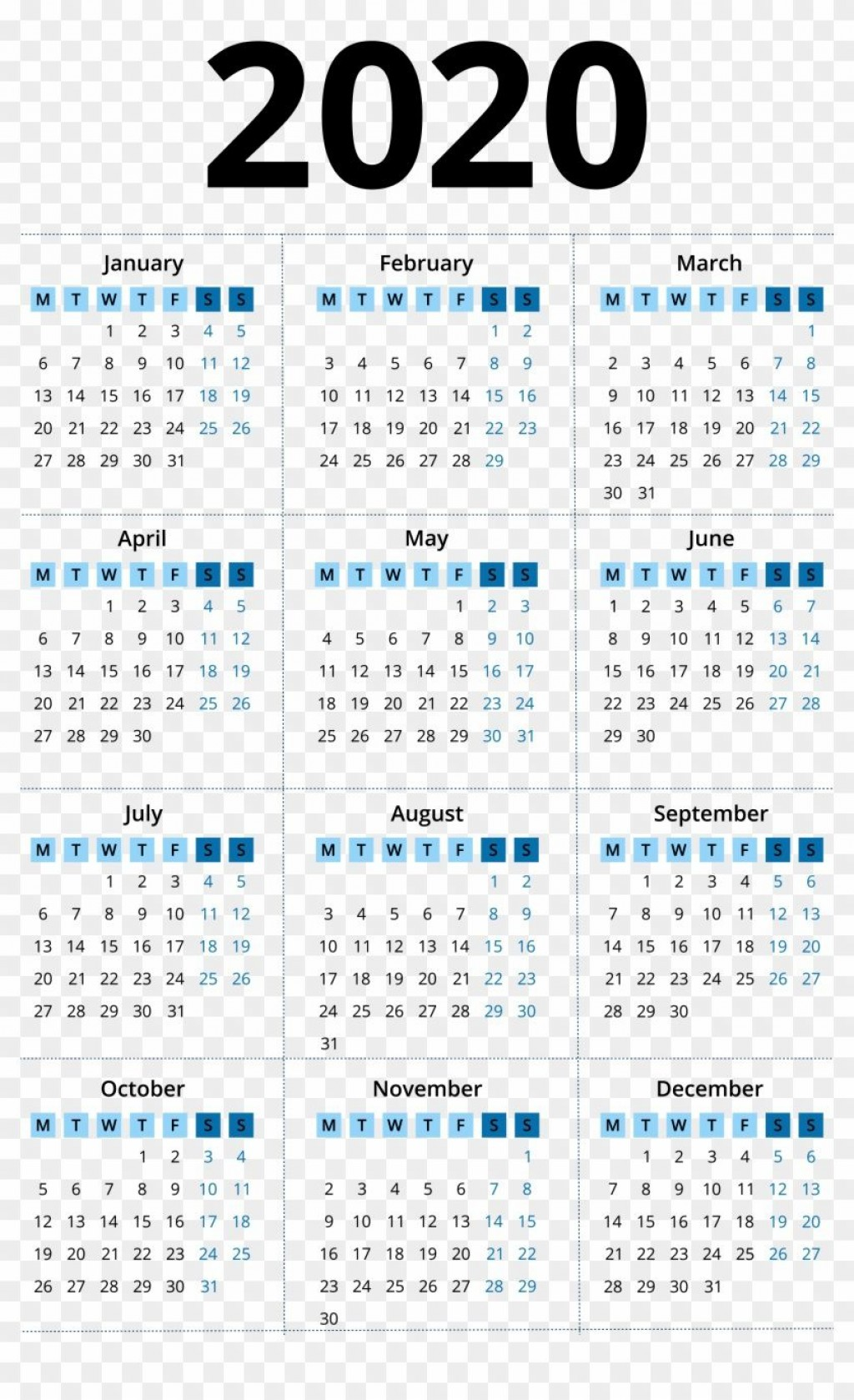 002 Dreaded 2020 Yearly Calendar Template Concept  Word UkLarge