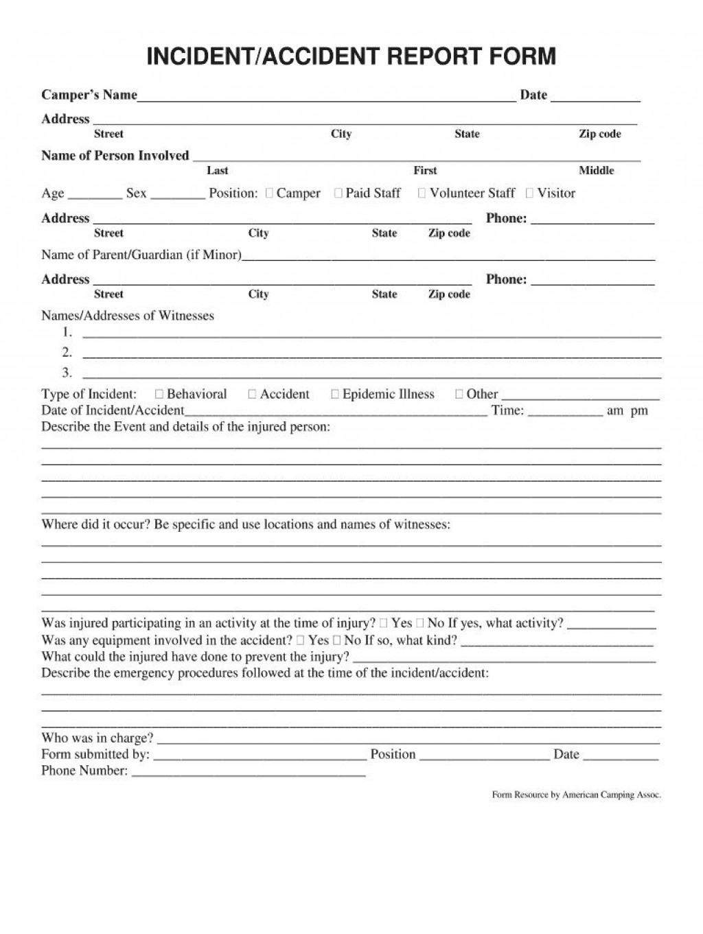 002 Dreaded Accident Report Form Template Picture  Incident Victoria Injury FreeLarge