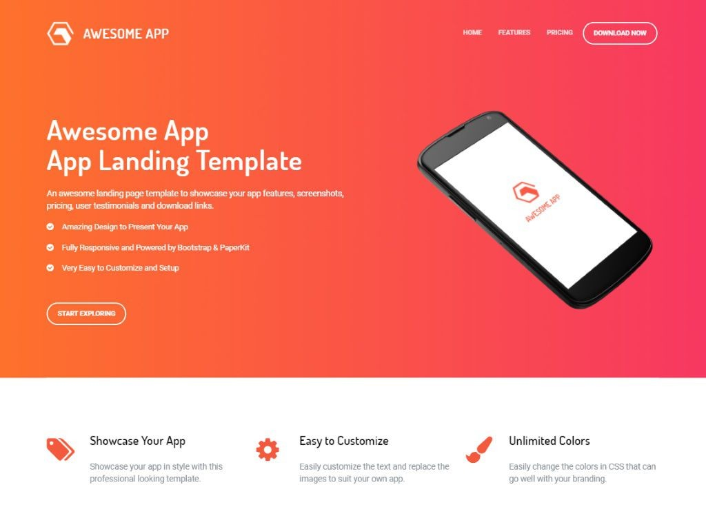 002 Dreaded Bootstrap Mobile App Template Image  Html5 Form 4Large