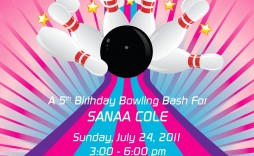 002 Dreaded Bowling Party Invite Printable Free Example  Birthday Invitation Template Girl