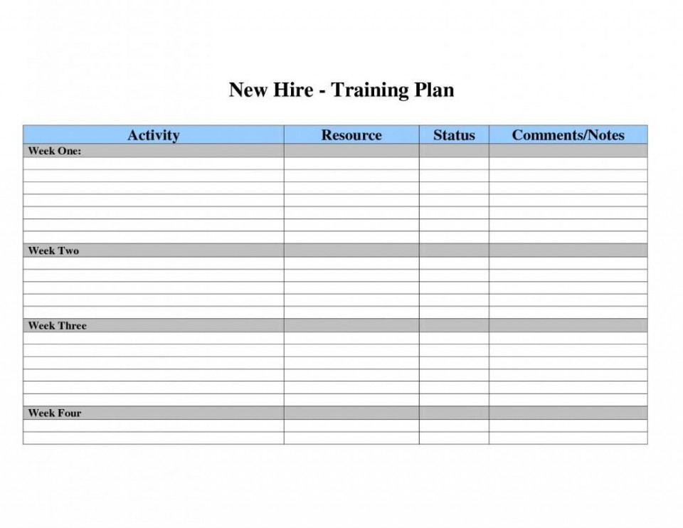 002 Dreaded Employee Training Plan Template Excel High Def  Free Download New Schedule960