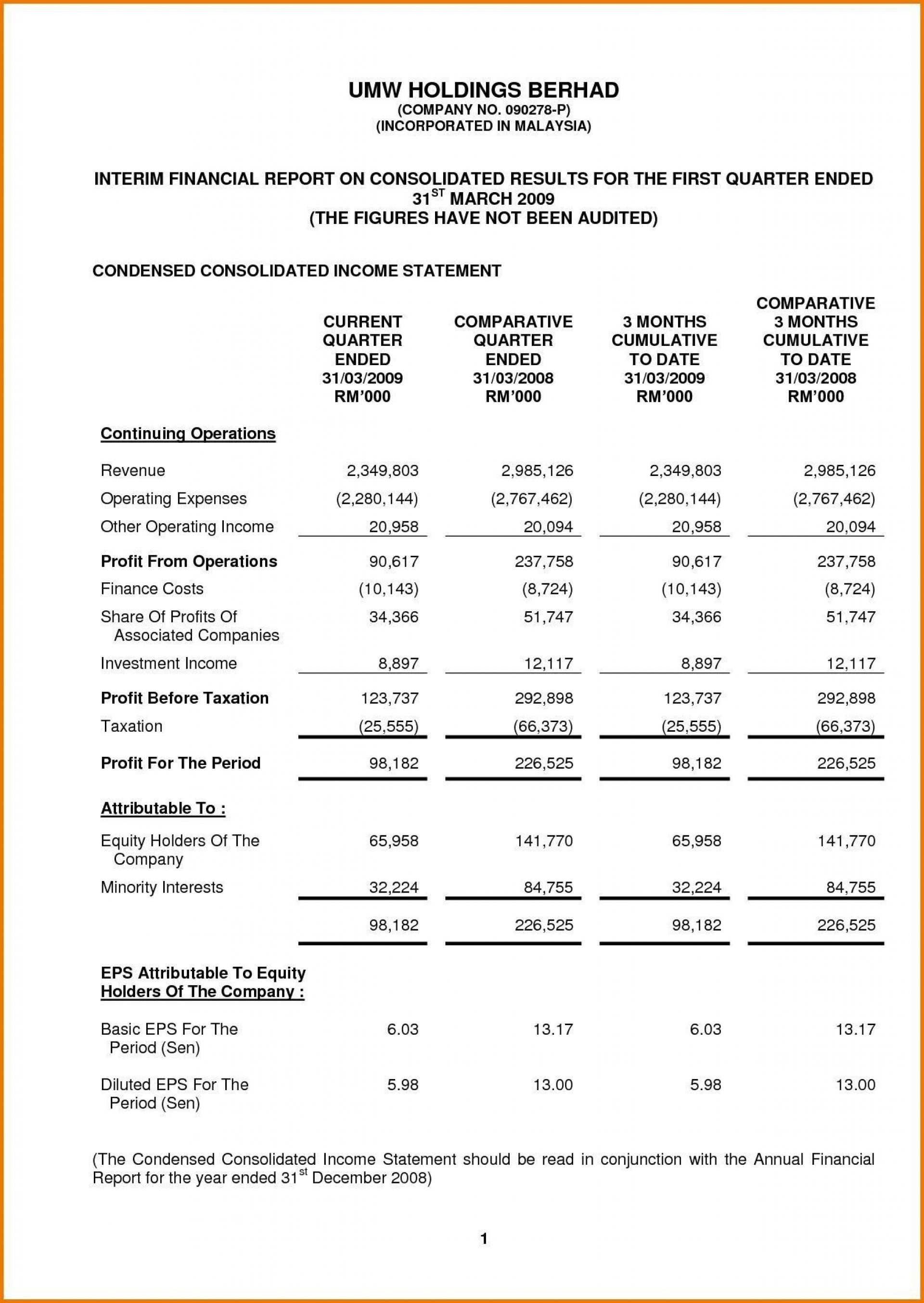 Excel Income Statement Template Addictionary