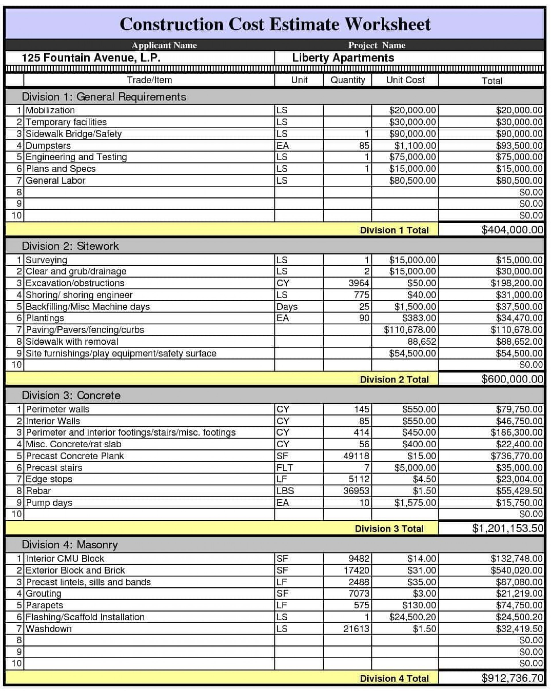 Free Construction Estimate Template Excel ~ Addictionary