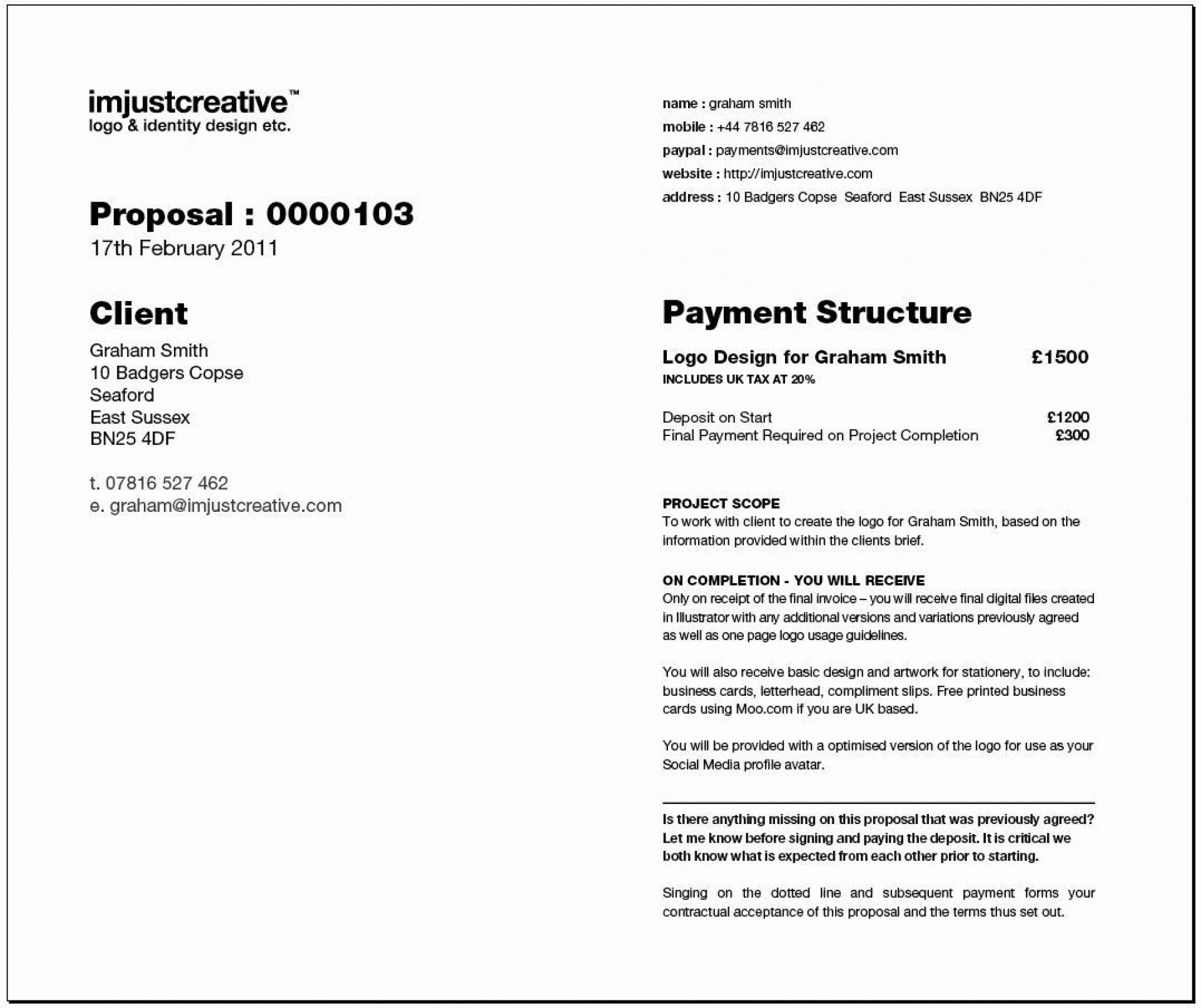 002 Dreaded Graphic Design Proposal Sample Photo  Pdf Free Template Indesign1920