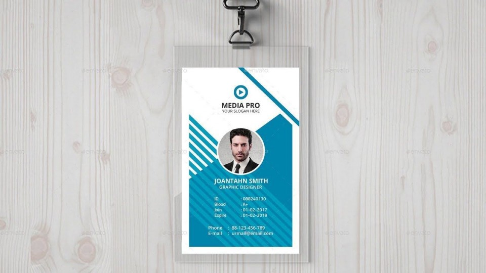002 Dreaded Id Badge Template Photoshop Idea  Employee960