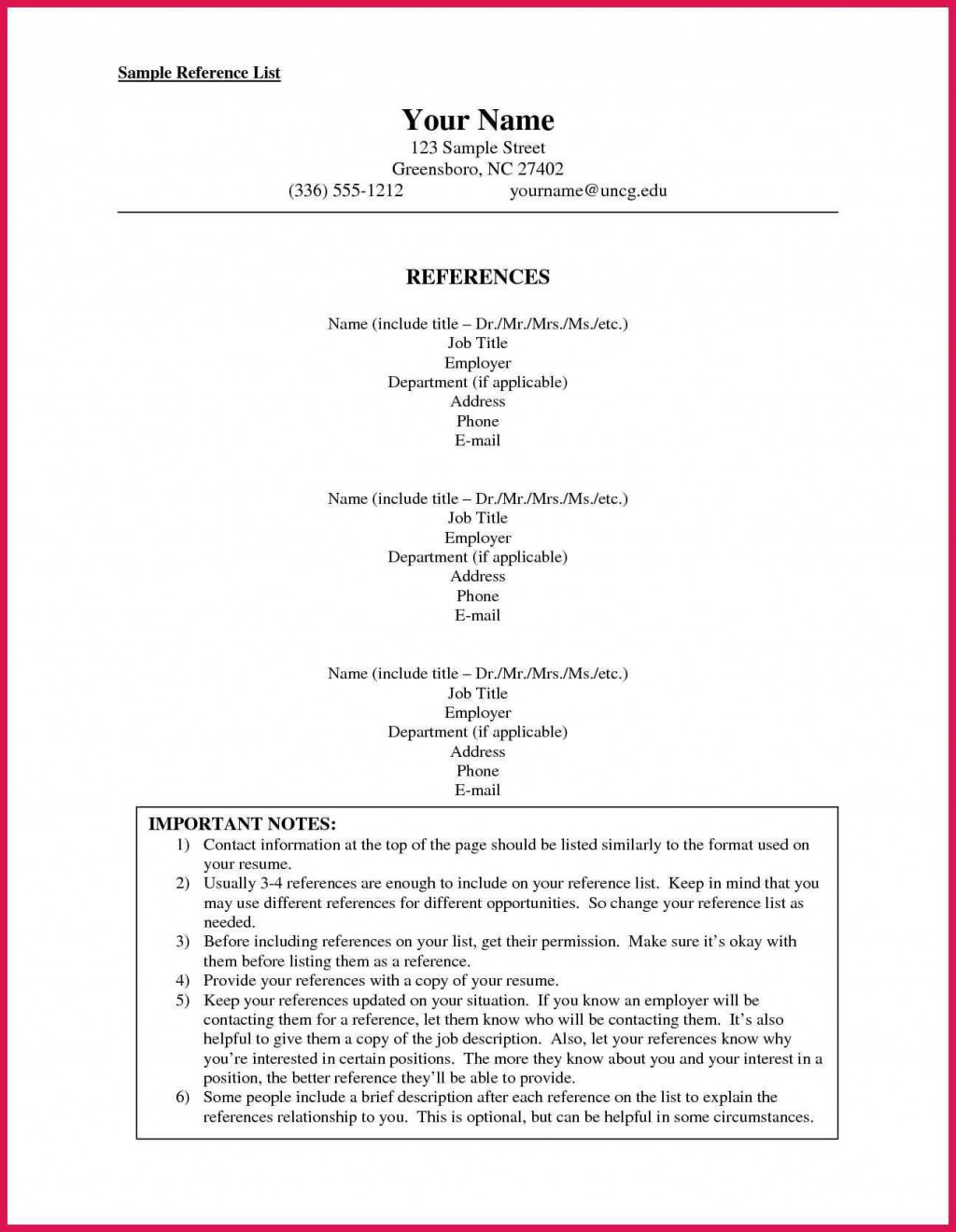 002 Dreaded List Of Reference Template High Resolution  Employment Format Professional FreeLarge