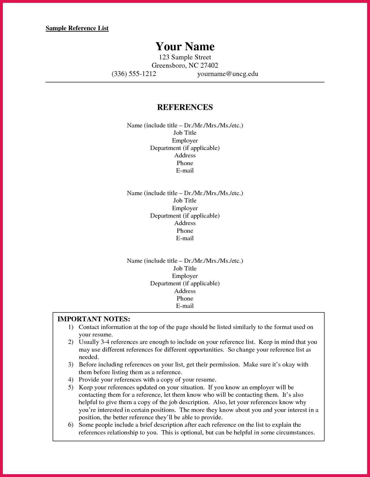002 Dreaded List Of Reference Template High Resolution  Employment Format Professional FreeFull
