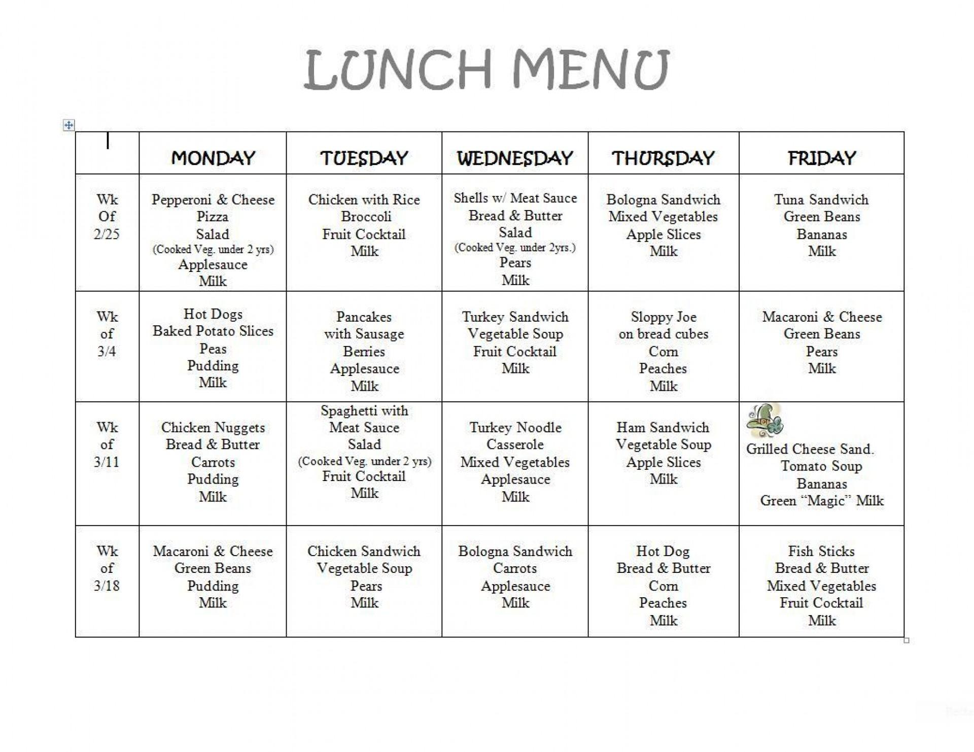 002 Dreaded School Lunch Menu Template Design  Monthly Free Printable Blank1920