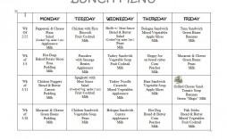 002 Dreaded School Lunch Menu Template Design  Monthly Free Printable Blank