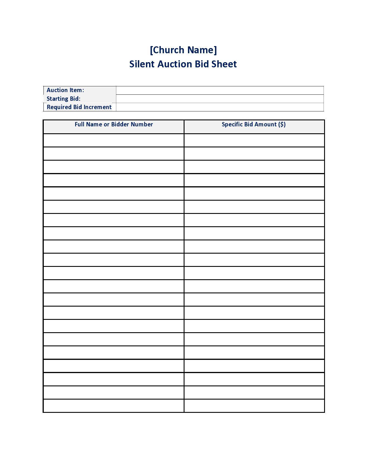 002 Dreaded Silent Auction Bid Sheet Template Free High Def  Pdf DownloadFull