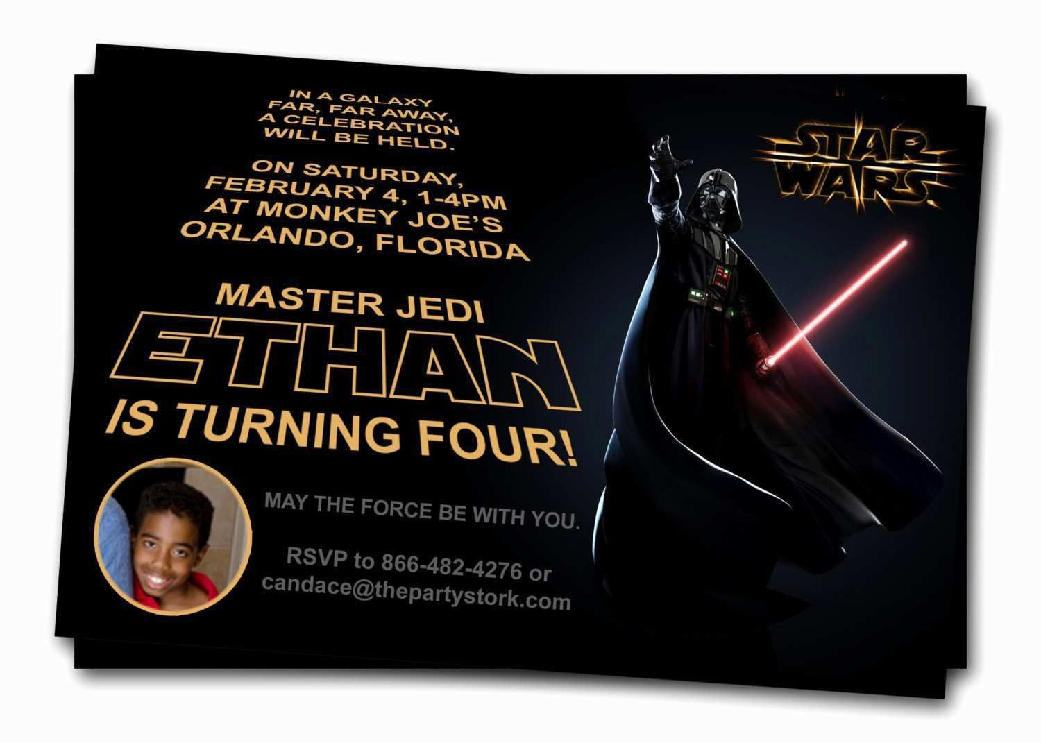 002 Dreaded Star War Birthday Invitation Template Example  Free Party PrintableFull