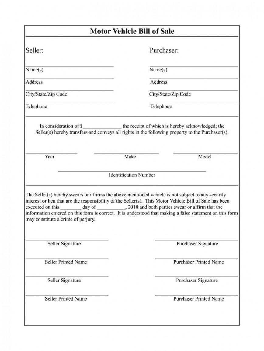 002 Excellent Auto Bill Of Sale Template Inspiration  Illinoi Motor Vehicle Form Texa Word Document