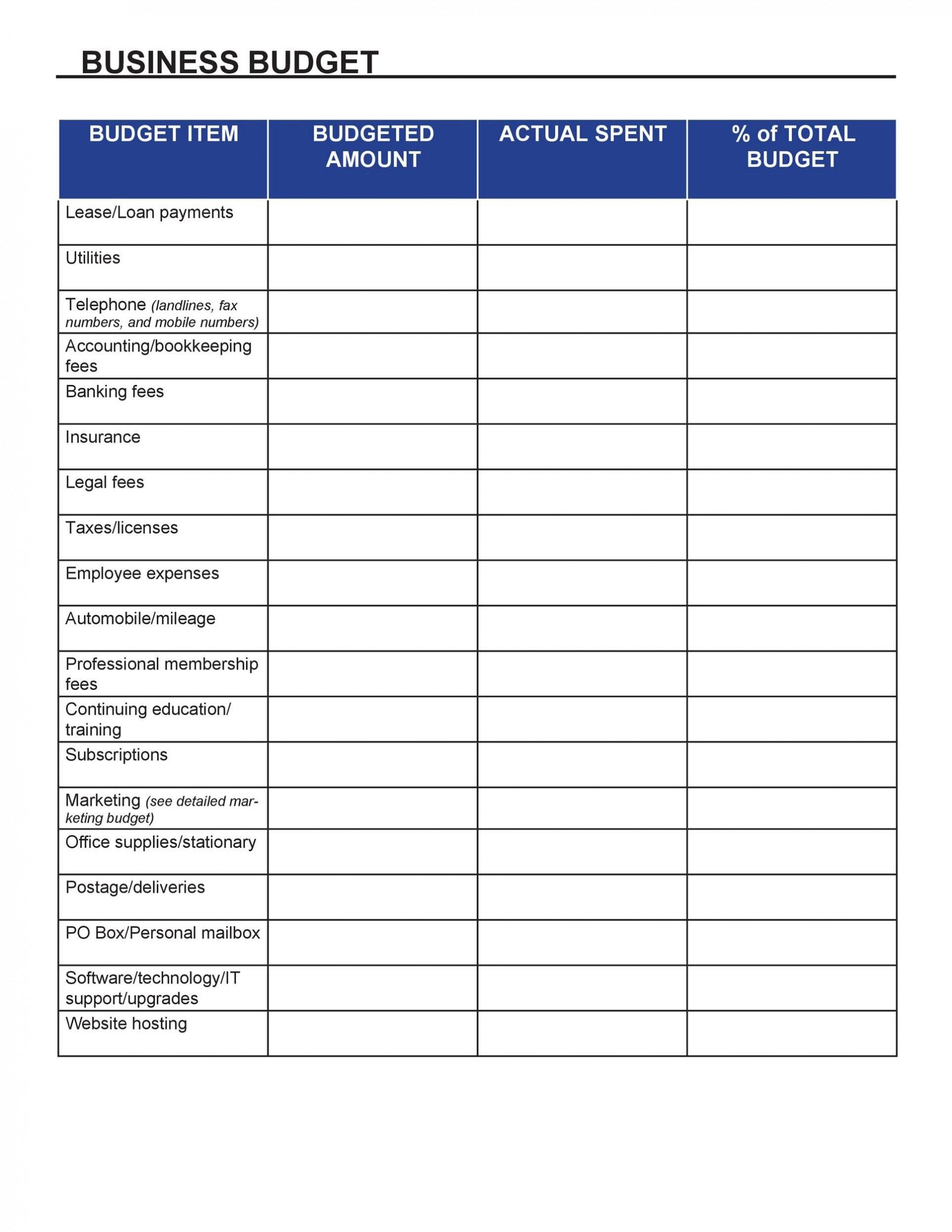 002 Excellent Busines Plan Budget Template Inspiration  Free Excel1920