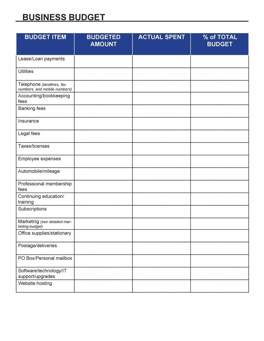 002 Excellent Busines Plan Budget Template Inspiration  Free Format Excel